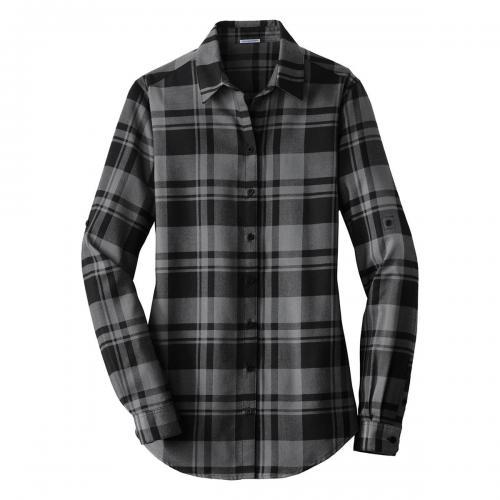 Port Authority Ladies Plaid Flannel Tunic Grey/Black Large