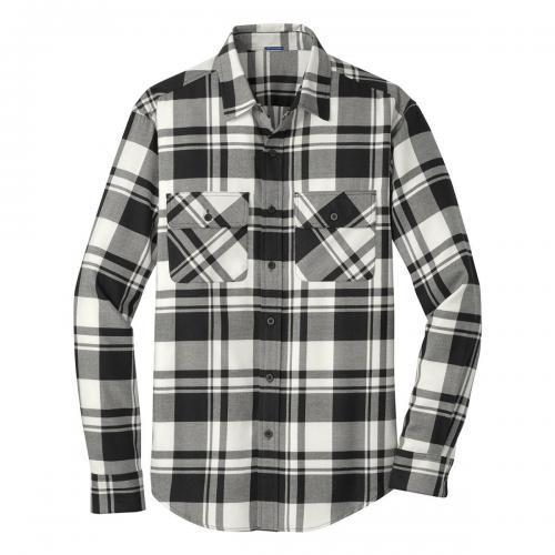Port Authority Plaid Flannel Shirt Snow White/ Black Large
